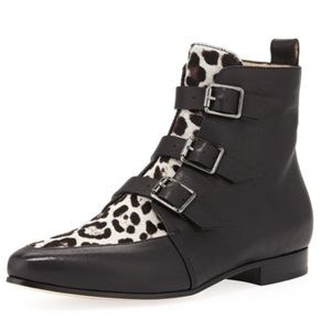 JIMMY CHOO marlin bootie black and leopard 7 37.5